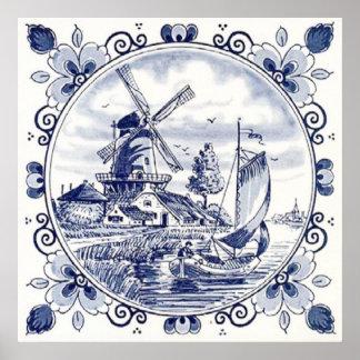 Cute Vintage Dutch Windmill Sailboat Delft Blue Poster