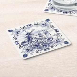 Cute Vintage Dutch Windmill Sailboat Delft Blue Square Paper Coaster