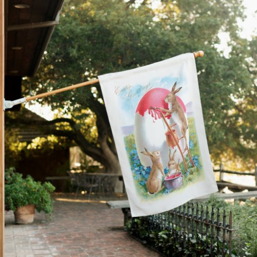 Cute Vintage Easter Bunnies Painting Giant Egg House Flag