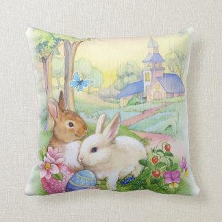 Cute vintage Easter bunnies Throw Pillow
