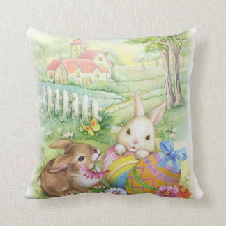 Cute vintage Easter bunnies with eggs and church Throw Pillows