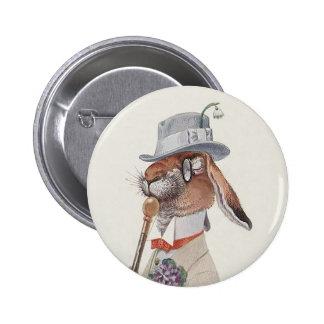 Cute Vintage Easter Bunny Rabbit Pinback Button