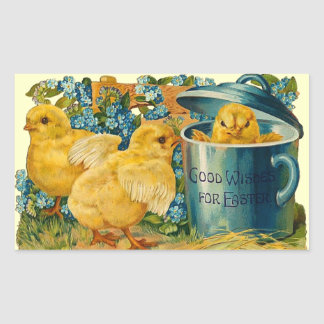 Cute Vintage Easter Chicks Rectangular Sticker