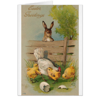 Cute Vintage Easter Greetings Card Bunny and Chick