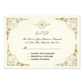 Cute Vintage Elegant Classy Rose Red RSVP Cards Announcement