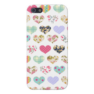 Cute Vintage Floral Hearts Quilt Pattern Case For iPhone SE/5/5s