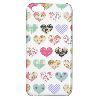 Cute Vintage Floral Hearts Quilt Pattern Cover For iPhone 5C