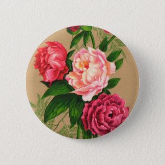 Cute Vintage Floral Pink Roses Pinback Button
