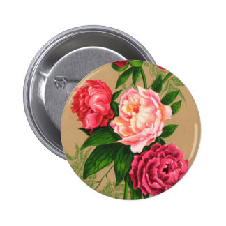 Cute Vintage Floral Pink Roses Pinback Button