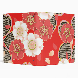 Cute Vintage Floral Red White Vector 3 Ring Binder