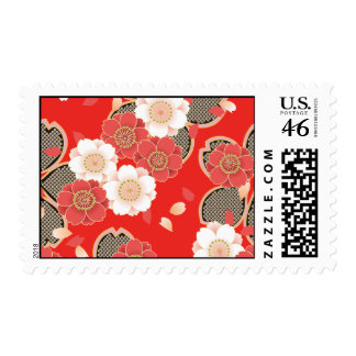 Cute Vintage Floral Red White Vector Postage Stamp