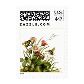 Cute Vintage Flowers and Bees Postage