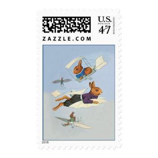 Cute Vintage Flying Bunny Rabbit - Anthropomorphic Postage Stamp