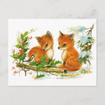 Cute Vintage Fox Christmas Scene Holiday Postcard