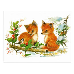 Cute Vintage Fox Christmas Scene Postcard