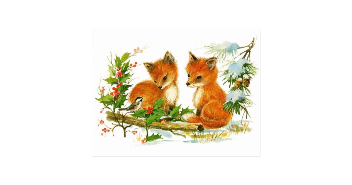 Cute Vintage Fox Christmas Scene Postcard Zazzle Com