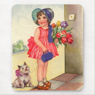 Cute Vintage Girl Mouse Pad