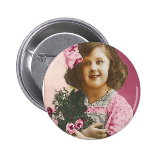 Cute Vintage Girl - Personalized 2 Inch Round Button