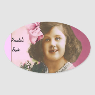 Cute Vintage Girl - Personalized Oval Sticker