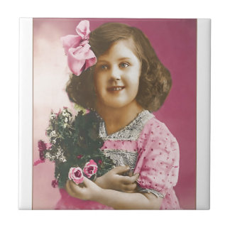 Cute Vintage Girl - Personalized Tiles