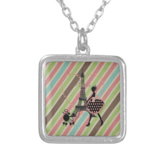 Cute vintage girl silhouette walking French poodle Square Pendant Necklace