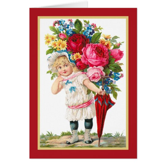 Cute Vintage Girl With Flowers Card