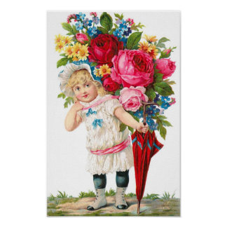 Cute Vintage Girl With Flowers Poster