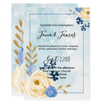 Cute vintage golden floral blue  wedding invitation