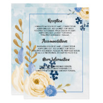 Cute vintage golden floral blue wedding program