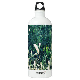 Cute vintage green and yellow grass photo aluminum water bottle