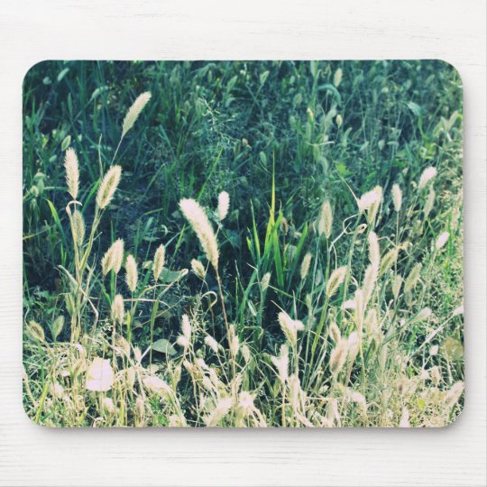 Cute vintage green and yellow grass photo mouse pad