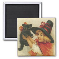 Cute Vintage Halloween 2 Inch Square Magnet