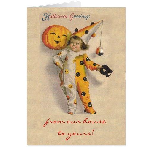 Cute Vintage Halloween Art with Customizable Text Card