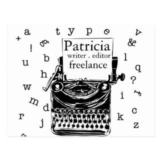 Cute Vintage handdrawin  Typewriter Postcard