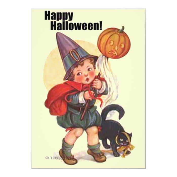 Cute Vintage Happy Halloween Invitations