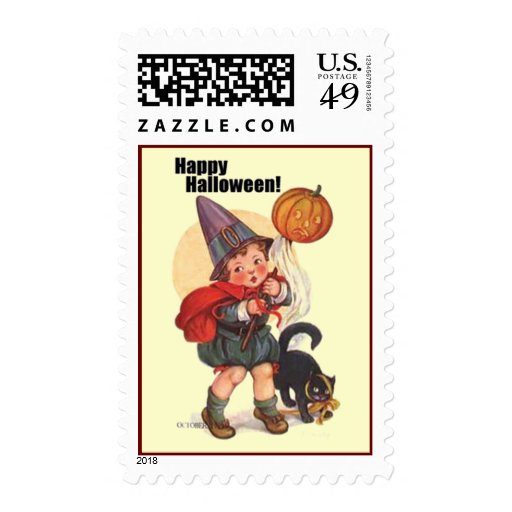 Cute Vintage Happy Halloween Stamps