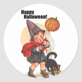 Cute Vintage Happy Halloween Trick or Treater Classic Round Sticker
