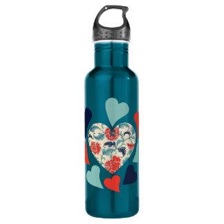 Cute Vintage Hearts 24oz Water Bottle