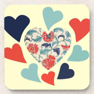 Cute Vintage Hearts Beverage Coaster