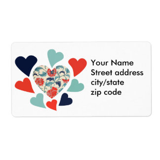 Cute Vintage Hearts Personalized Shipping Label