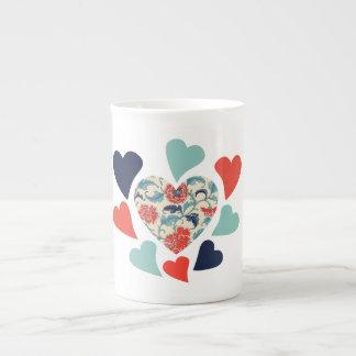 Cute Vintage Hearts Porcelain Mugs