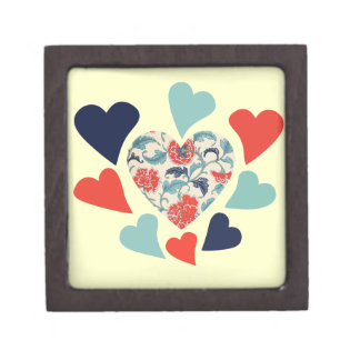 Cute Vintage Hearts Premium Jewelry Boxes