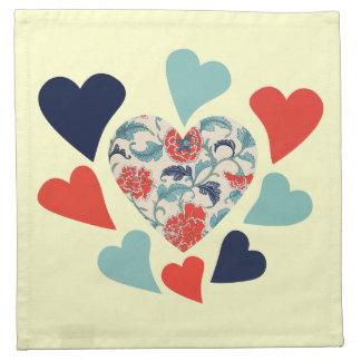 Cute Vintage Hearts Printed Napkin