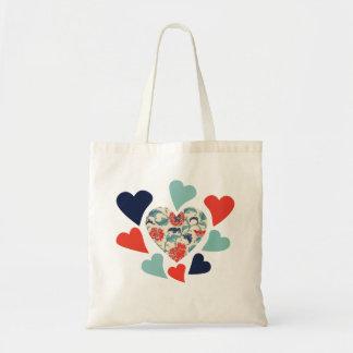 Cute Vintage Hearts Tote Bags