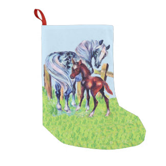 Cute Vintage Horses Mom Baby Small Christmas Stocking