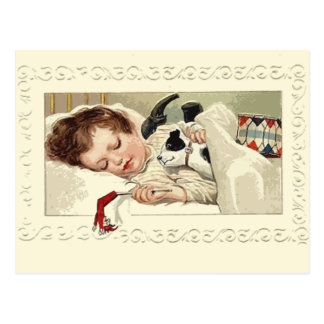 Cute Vintage Image of Girl Sleeping Holiday Cards Post Cards