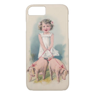 Cute Vintage iPhone 7 case - Young Gril Walking Pi