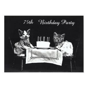 Kitten birthday invitations announcements zazzle cute vintage kittens 75th birthday party invitation filmwisefo