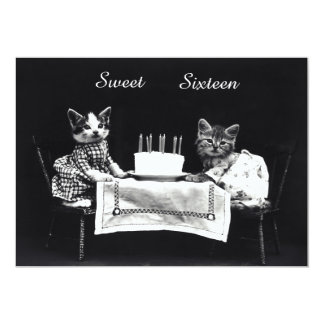 Cute Vintage Kittens Sweet Sixteen Birthday Party Card