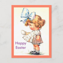 Cute Vintage Little Girl on Happy Easter Postcard